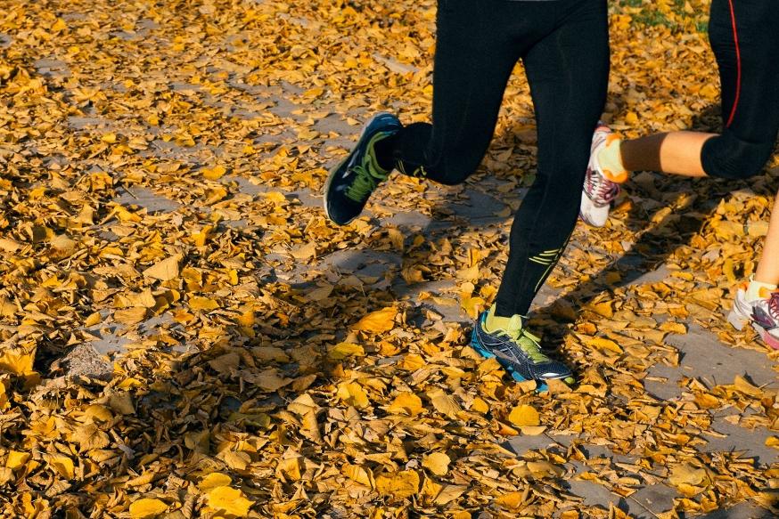 Joggers run through leaves on an autumn morning